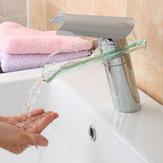 Cam Şelale Mikser Dokunun Banyo Havzası Musluk Lavabo Tek Kolu Krom Kaplama