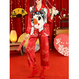 Women Chinese Style Cartoon Print Camp Collar Button Up Long Sleeve Loose Pants Home Pajama Set