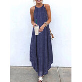 Women Casual Striped Strappy High Low Long Maxi Dress