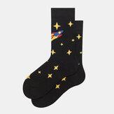Calcetines Medias masculinas Tendencia femenina Starry Sky Tubo Calcetines de algodón de la calle