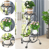 3 Tier S-shape Metal Plant Stand Display Shelf Flower Pot Rack Home Garden Ornaments Decor Rack With Removable Wheel