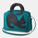 Women Fashion Beauty Faux Leather Large Capacity Handbag Crossbody Bag Shoulder Bag Cat Bag