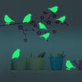 Decoración fluorescente del dormitorio del hogar de la etiqueta engomada de la pared de los pájaros del resplandor de 8PCS Honana