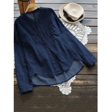 Women Buttons Down Long Sleeve High Low Hem Denim Blouse
