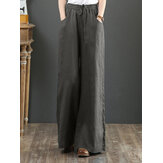 Women Solid Color Elastic Waist Drawstring Wide Leg Pants With Pocket