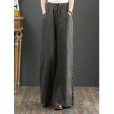 Pierna ancha con cordón de cintura elástica de color sólido para mujer Pantalones con bolsillo