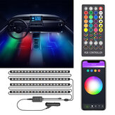 BlitzWolf® BW-LT35 Bluetooth RGBIC Car Interior Strip Lights with 3 Simple Control Methods Vivid RGBIC Lighting Effect Sync with Music Activate Music Mode and Scene