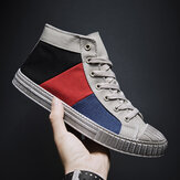 Hombre Colorblock Canvas High Top Lace Up Sports Casual Trainers