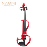 NAOMI Electric Violin 4/4 Violin Electric Violin Hard Case+ Cable +Headphone Red Color Set