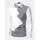 Mens Striped Patchwork Irregular Casual Long Sleeve Golf Shirts
