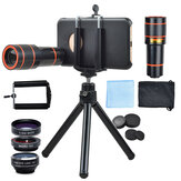 APEXEL 4 In 1Phone Lens 0.63x Wide Angle + 15x Macro + 198 ° Fisheye + 12x Telephoto