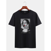 Mens Funny Kuso Mona Lisa License Crew Neck Black Short Sleeve T-Shirts