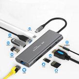 Adaptateur Blueendless 9 en 1 USB-C Hub Docking Station avec 3 * USB 3.0 / 60W Type-C PD / 4K HD Sortie vidéo d'affichage / RJ45 Port réseau / Prise audio 3,5 mm / Lecteurs de carte mémoire