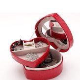 PU Leather Heart Shape Vòng cổ Bông tai Trang sức Hộp tổ chức