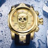 Большой циферблат мужские бизнес-часы Ghost Head Череп циферблат Силиконовый Стандарты Водонепроницаемы Кварцевые часы