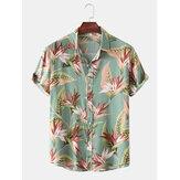 Męska bawełniana koszulka z kwiecistym wzorem Odwijany kołnierz Hawaje Holiady z krótkim rękawem
