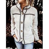 Kadınlar Sıcak Düz Renk Polar Düğme Yukarı Boru Ceket