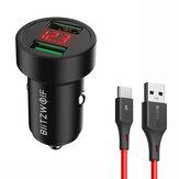 BlitzWolf® BW-SD6 24W QC3.0 QC2.0 दोहरी USB मिनी कार चार्जर ब्लिट्जवाल्फ® BW-TC14 3A USB Type-C केबल फास्ट चार्जिंग के लिए iPhone 12 11Pro XS Mi4 POC