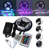 5M SMD 3528 300 Waterproof LED RGB Strip Flessibile Light 24 chiave IR remote + Power Adapter DC12V