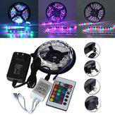 5M SMD 3528 300 Wodoodporny pasek LED RGB Elastyczne światło 24-kluczowy IR zdalny + zasilacz DC12V