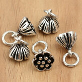 S925 5pcs Sterling Silver Lotus Beads Charm Accessori gioielli fai-da-te Accessori
