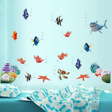 Coloful Under Water World Wall Sticker Salon Décoration à la maison Creative Decal DIY Mural Wall Art