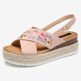 Women Espadrilles Embroidery Flowers Cross Strap Slingback Casual Platform Sandals