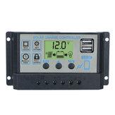 Contrôleur solaire automatique 12V / 24V 10A-60A PWM Contrôleur de charge solaire à 3 étages, régulateur double USB LCD