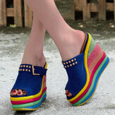 Women Rivet Rainbow Colorful Buckle Peep Toe Summer Beach Wedge Platform Sandals