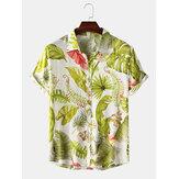 Jay Chou Mojito mismo estilo algodón tropical deja estampado transpirable manga corta vacaciones camisas