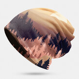 Women Mountain Treetop Print Pattern Soft Personality Breathable Turban Cap Beanie
