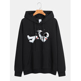 Katoenen heren cartoon astronaut print lange mouw drop shoulder trekkoord hoodies
