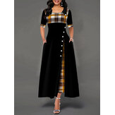Casual Plaid Patchwork Short Sleeve Splited Swing Hem Maxi Dress