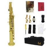 Messing gerade Sopransax Saxophon Bb B Flaches Holzblasinstrument Naturschale Key Carve Pattern mit Tragetasche
