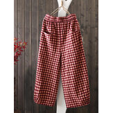 Women Vintage Loose Elastic Waist Plaid Harem Pants with Pockets