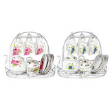 15 stks Fine Bone China Aardewerk Porselein Elegante Koffie Thee Pot Cup Set Geschenken