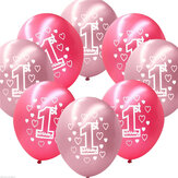 10 Per Set Pink Girl 1st Birthday Wydrukowano Pearlised Balloons Christmas Decoration