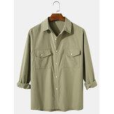 メンズソリッドカラーコットンカジュアルラペルレギュラーフィットフラップポケット付き長袖シャツ