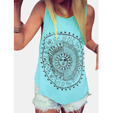 Disco Carta Imprimir Ronda Cuello Loose Summer Casual Tank Tops