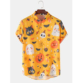 Mens Halloween Funny Animal Pumpkin Skull Print Loose Casual Short Sleeve Shirts