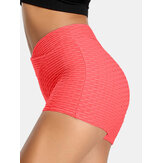 Femmes Couleur unie V-Waist Elastic Sports Yoga Shorts