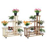 Jardín de madera multicapa Planta Soporte para macetas Estante para guardería Pantalla Estantes Rack Pala Pala Harrow Maceta herramientas