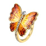 Sweet Enamel Butterfly Insect Diamond Rings Gift for Women