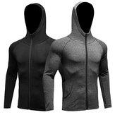 Мужчины Фитнес Запуск тренировочной спортивной куртки с длинными рукавами Молния вскользь Толстовка с капюшоном Быстросохнущее пальто