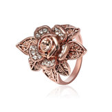 Champagne Gold Zircon Lifelike Flower Elegant Accessories Anel Rose Gold Rhinestone Ring