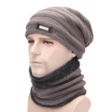 Men Plus Velvet Knit Hat Scarf Set Earmuffs Beanie Hat