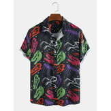 Mens New Fashion Dinosaur Skeleton Cartoon Print Turn Down Collar Short Sleeve Shirts