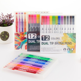 12 Colors Soft Double Head Watercolor Pen Dual Tip Brush Pen Set Hook Line Pen Art Drawing Pen Office School Supplies