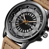Fashion Casual Roman Numerals Creative Dial Date Display Leather Strap Men Quartz Watch
