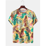 Camisetas informales de vacaciones de manga corta con estampado de hojas tropicales para hombre
